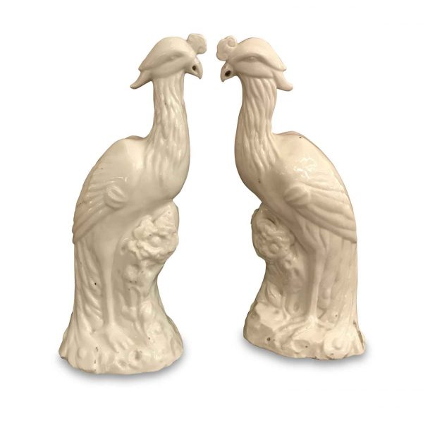 20th Century Pair of White Porcelain Peacock Figurines