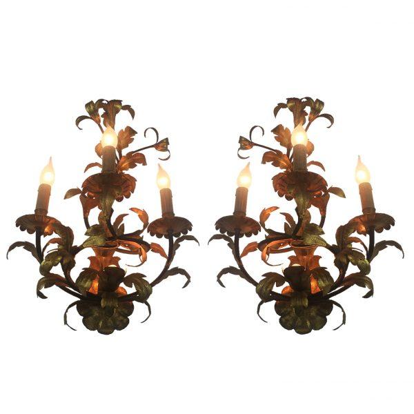 Pair of antique Italian gilded sconces