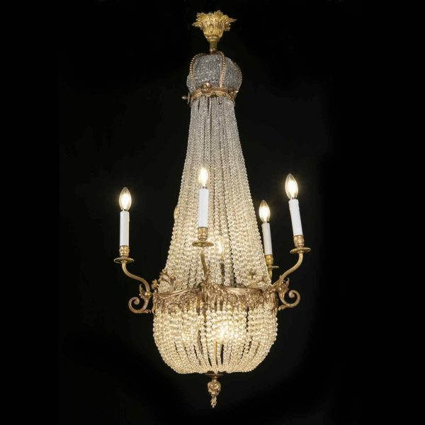 French Empire Gilt Bronze and Crystal Ten-light Chandelier