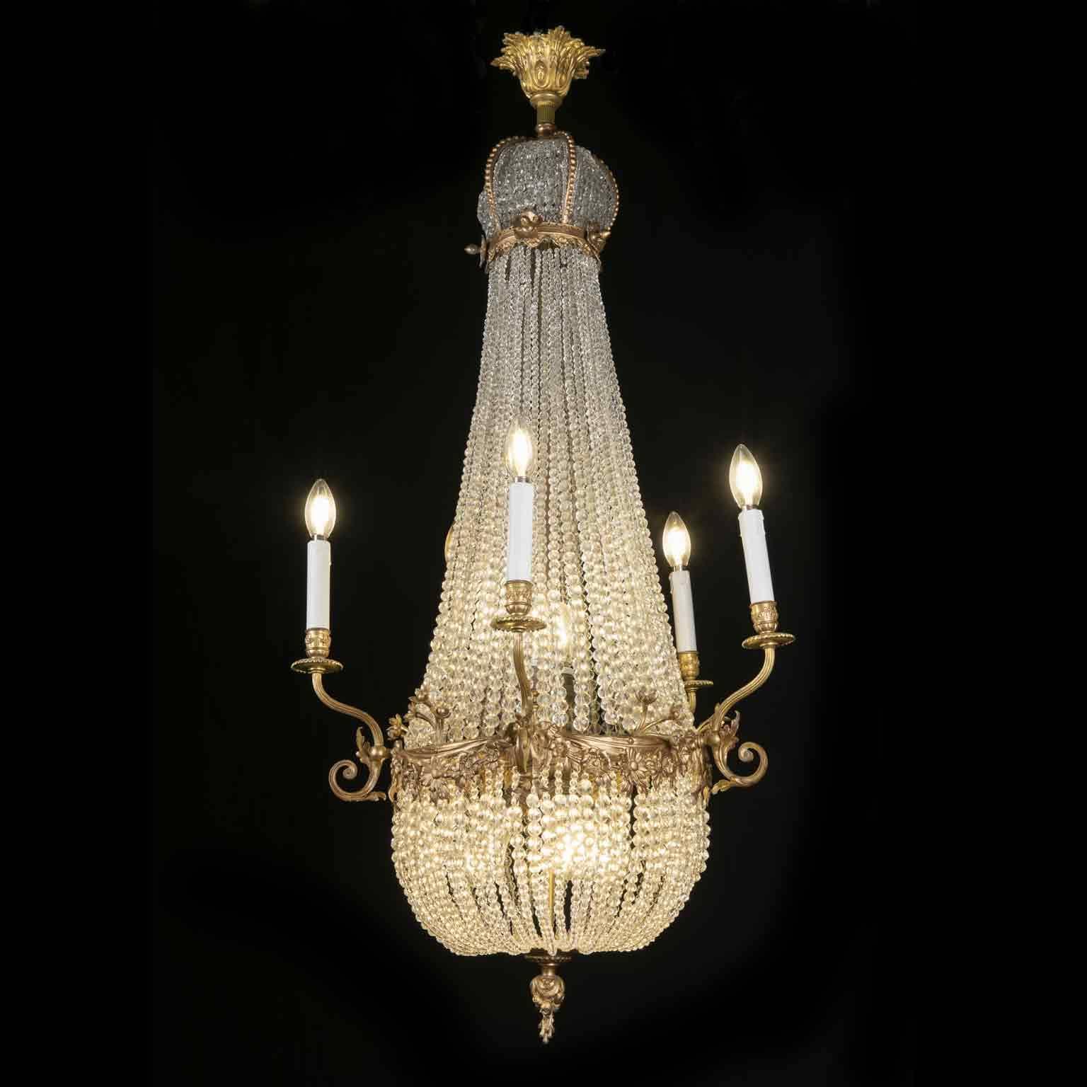lampadario Impero del XIX secolo in cristallo e bronzo dorato