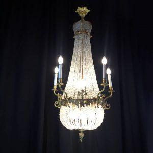 lampadario-impero-1800 in-cristallo-e-bronzo-dorato-4008