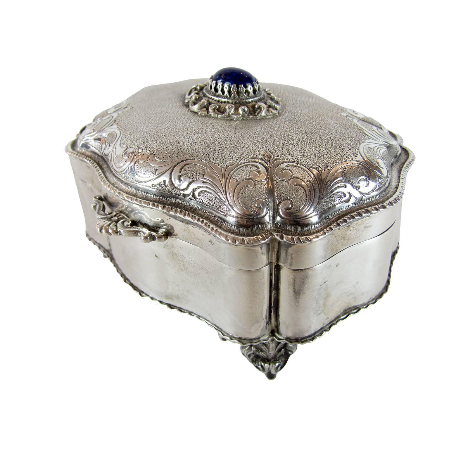 Scatola portagioie in argento lavorato a mano in perfetto - Portagioie argento ...