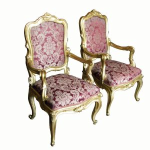 Pair-of-antique-Italian-giltwood-armchairs