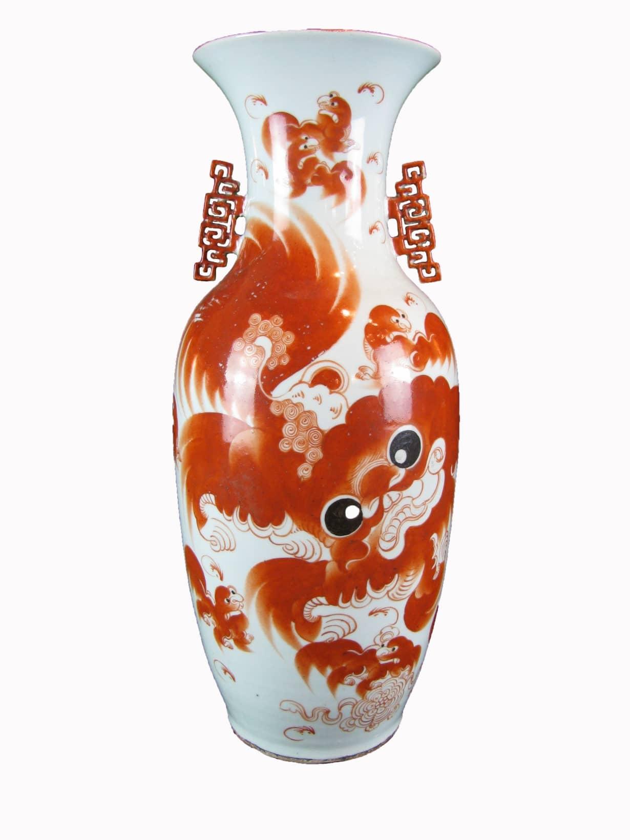 Grande vaso cinese antico in porcellana decorata in rosso for Vaso grande