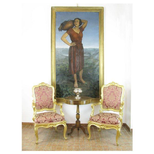1923 Italian antique painting Harvest by Battaini