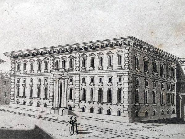 Veduta del Palazzo Reale di Brera in  Milano