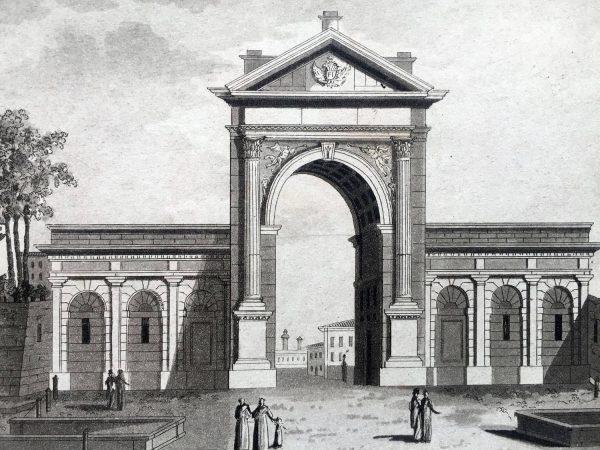 Veduta esterna di Porta Nuova in Milano