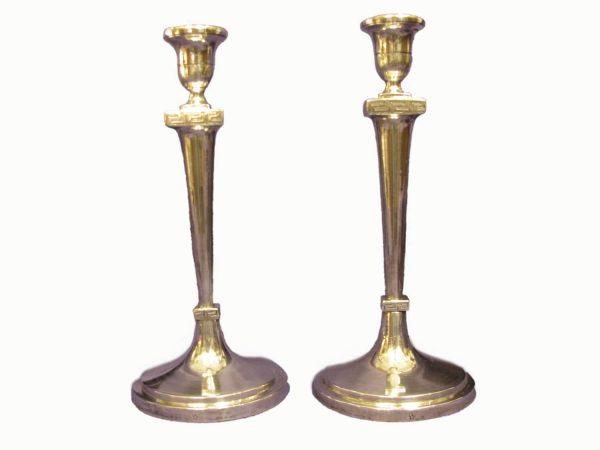 Coppia di Candelieri Antichi Neoclassici in Argento