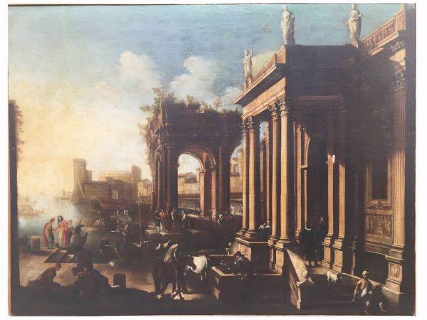 Antique Marine Painting  Architectural Capriccio of 18th century