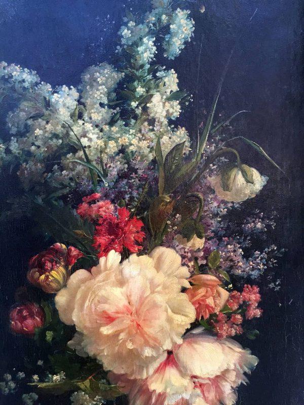 Early 20th Century Romantic Italian Flowers Still Life on Canvas
