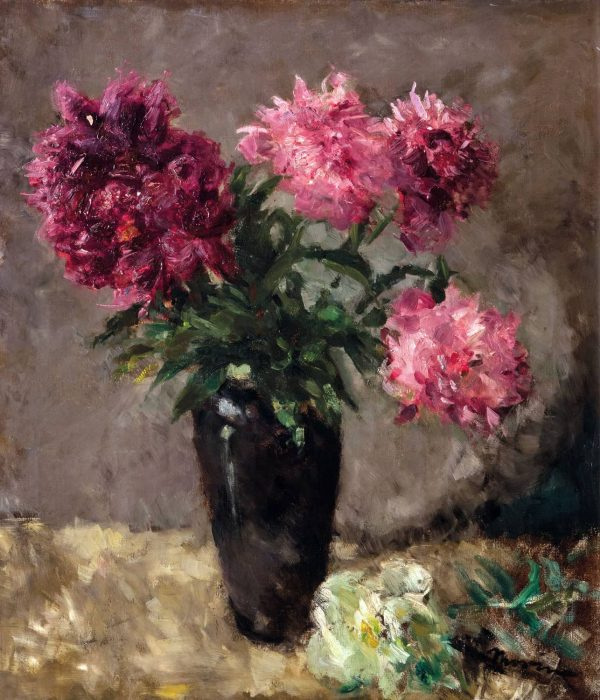 European 20th Century Flower Still Life Pink Peonies by Pick Morino Gilt Frame