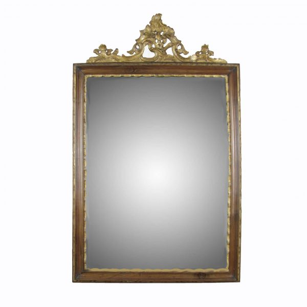 Louis XV Italian Carved and Gilt Walnut Mercury Glass Mirror