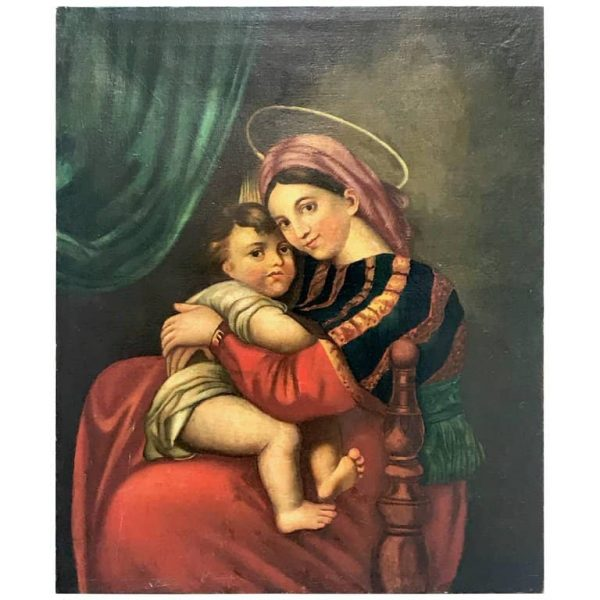 19th Century Virgin with Child  Oil on Canvas Italian Painting