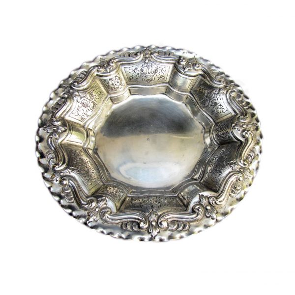 20th Century Engraved Embossed Silver Centerpiece Bowl