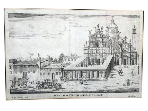 17th Century Italian Etching by Agnelli Federico Depicting San Celso in Milan