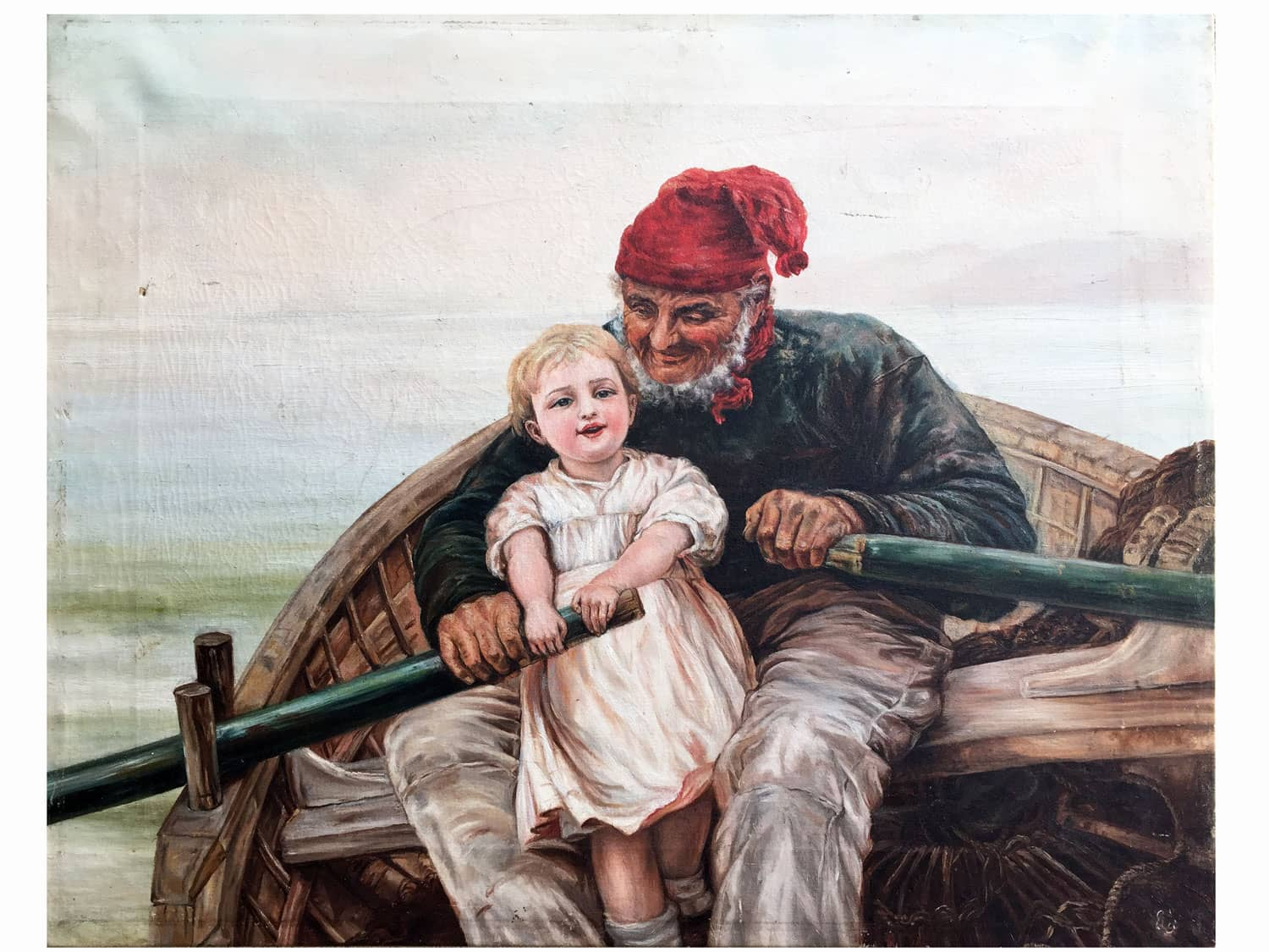 old fisherman with child early 20th century italian painting