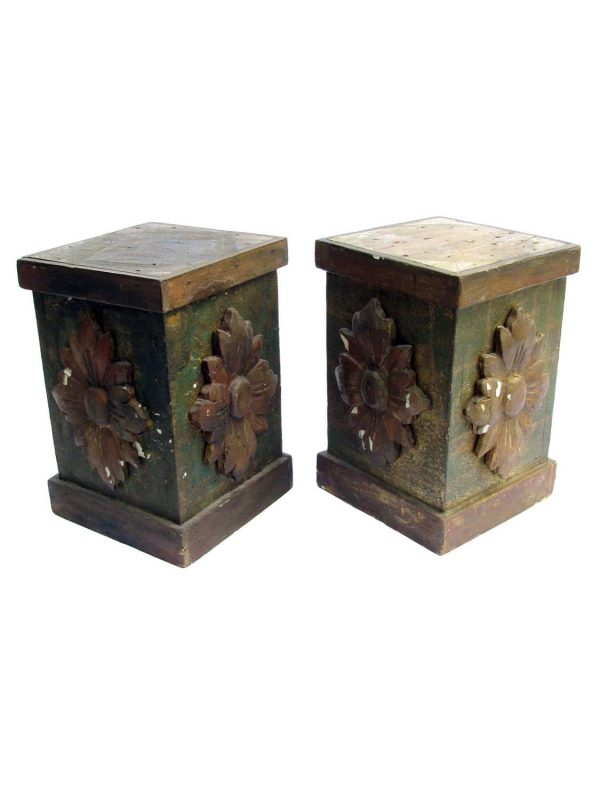 Pair of Antique Italian Carved Wooden Bases