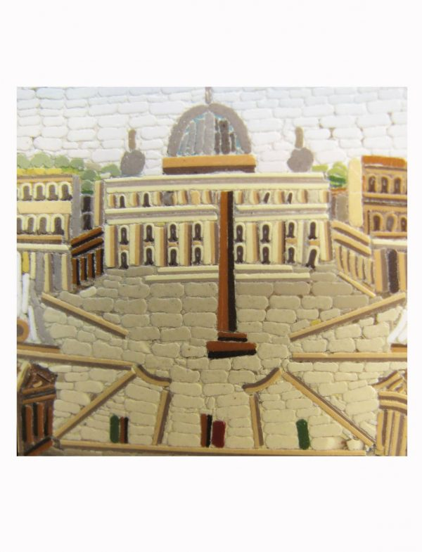 Antique Grand Tour  Micro Mosaic Paperweight, Saint Peter's Place in Rome