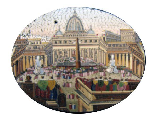 Spilla con micromosaico con veduta di San Pietro