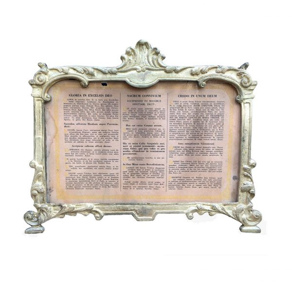 19th century Italian Bronze Altar Card or Cantagloria