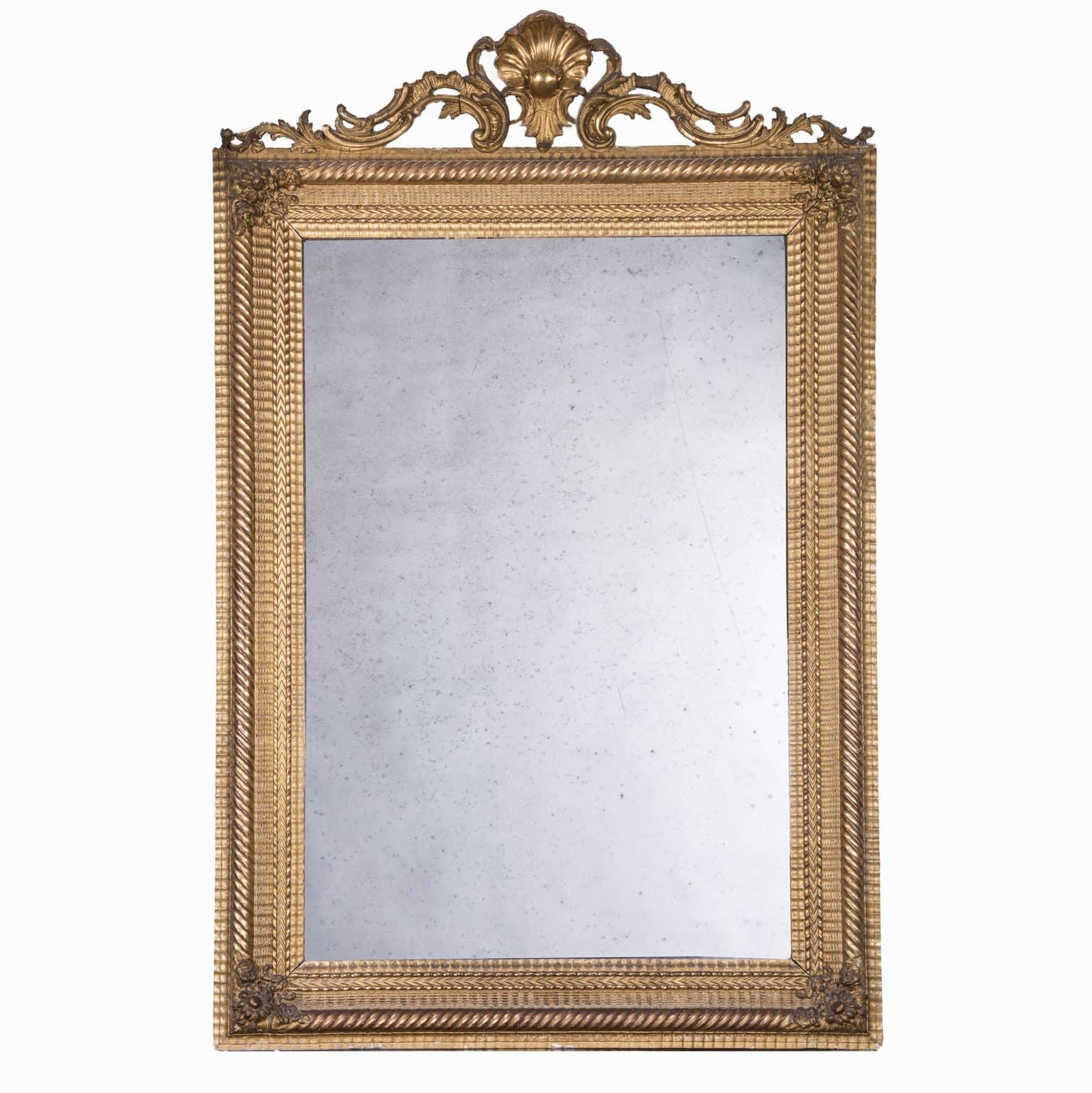 Grande Specchiera Dorata francese del 1800