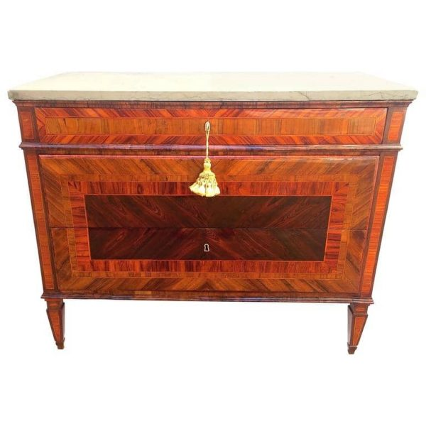 Italian Louis XVI Marquetry Chest of Drawers With Marble Top, Piedmont 1750 circa
