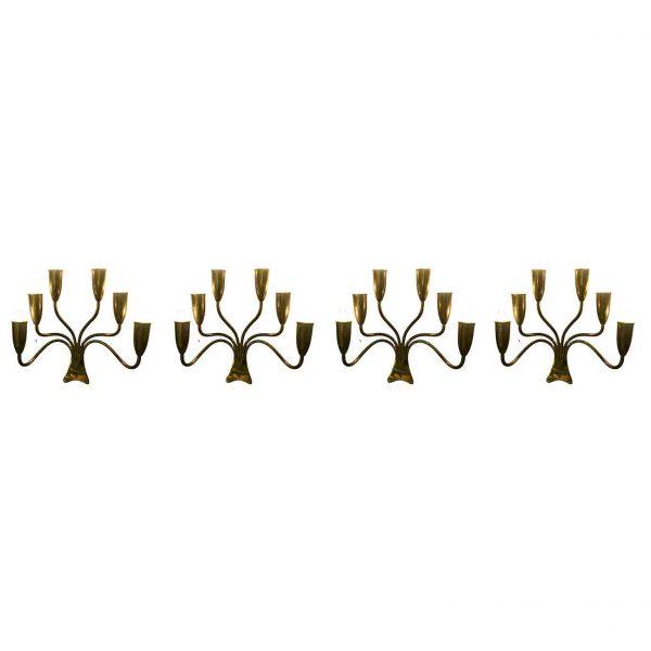 1970s Set of Four Italian Brass Six Arm Candelabra Sconces