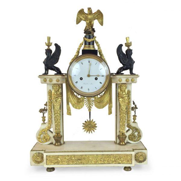 Louis XVI Marble and Ormolu Mounted Mantel Clock Signed Bergmiller a Paris