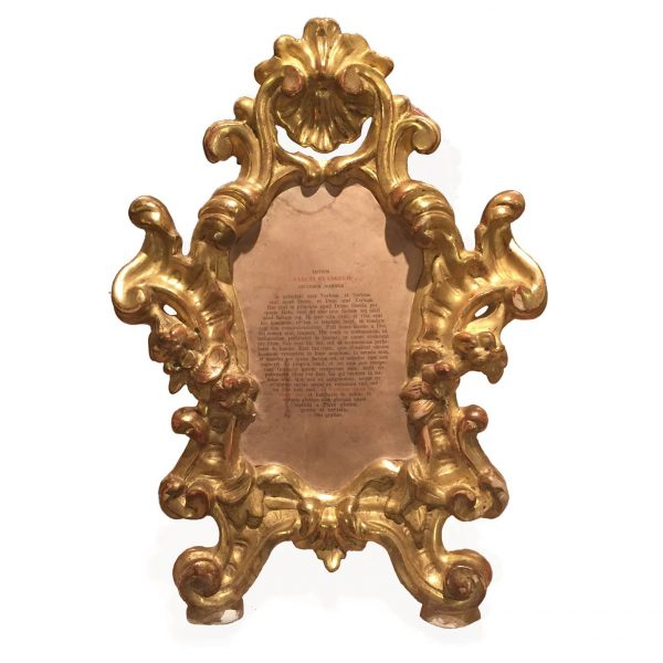 A Late 18th Century Carved and Giltwood Altar Card