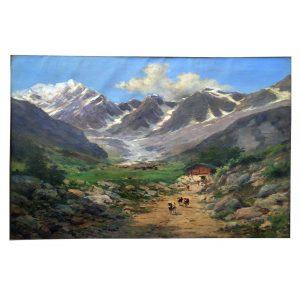 Silvio Poma Paesaggio di Montagna Veduta Monte Rosa Primi Decenni del 1900