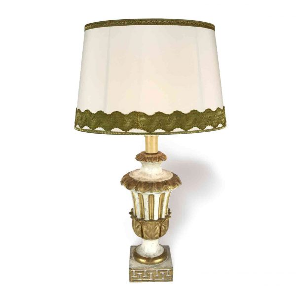 18th Century Empire Giltwood and White Italian Table Lamp with Oval Lampshade