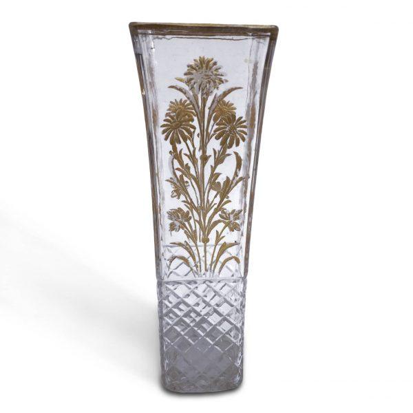 Vaso da Fiori in Vetro Decorato in Oro