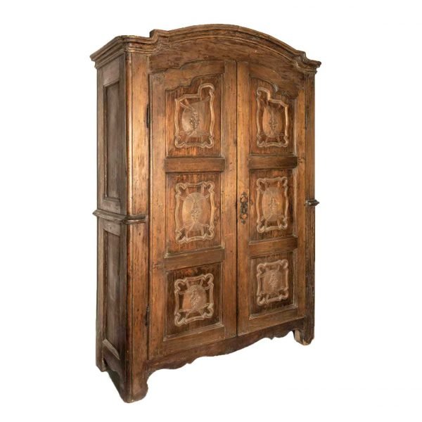 18th century  Piedmontese Carved Poplar Armoire