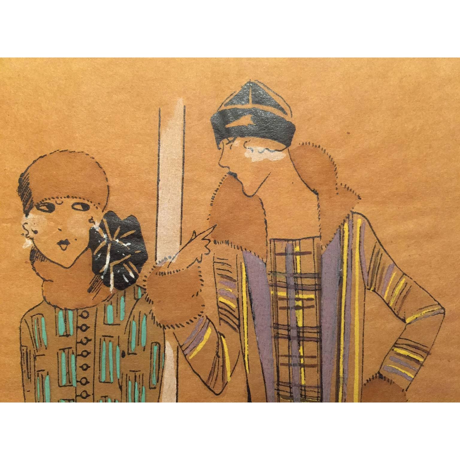 spesso Splendido disegno a china ed acquerello per vestiti di moda nel 1911 AL55
