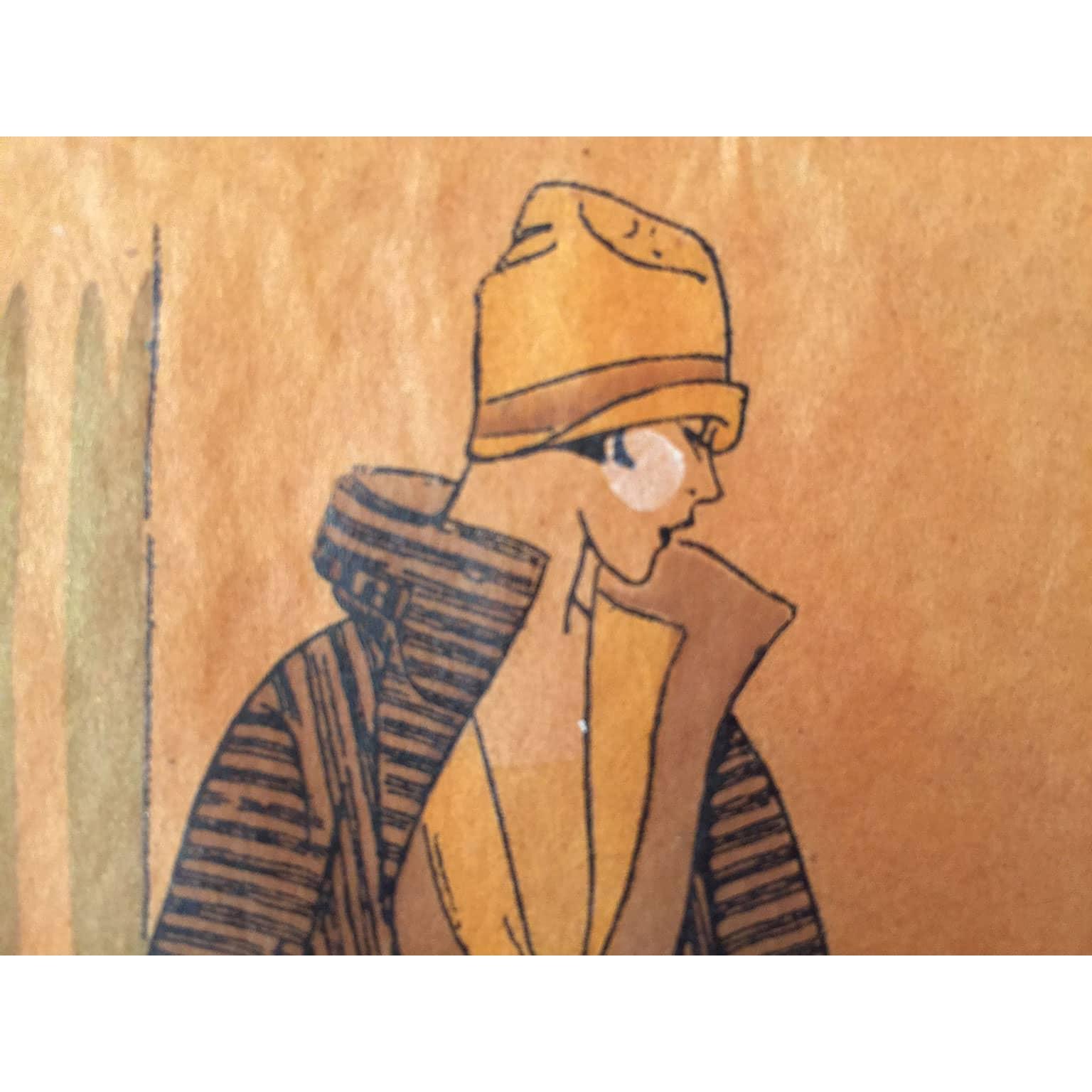 Amato Splendido disegno a china ed acquerello per vestiti di moda nel 1911 EN54