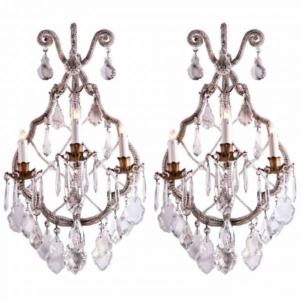 Antique Beaded Crystal Sconces Pair of Italian Three-light Wall Lamps