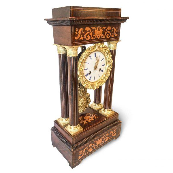 19th Century Napoleon III Inlaid Walnut Ormolu Mounted Portico Clock