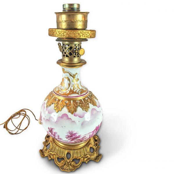 Mangani Firenze Hand-painted Porcelain and Ormolu Table Lamp, circa 1970