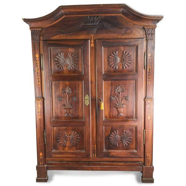 18th century  Piedmontese Walnut Armoire, Two Door Carved Inlaid Wardrobe