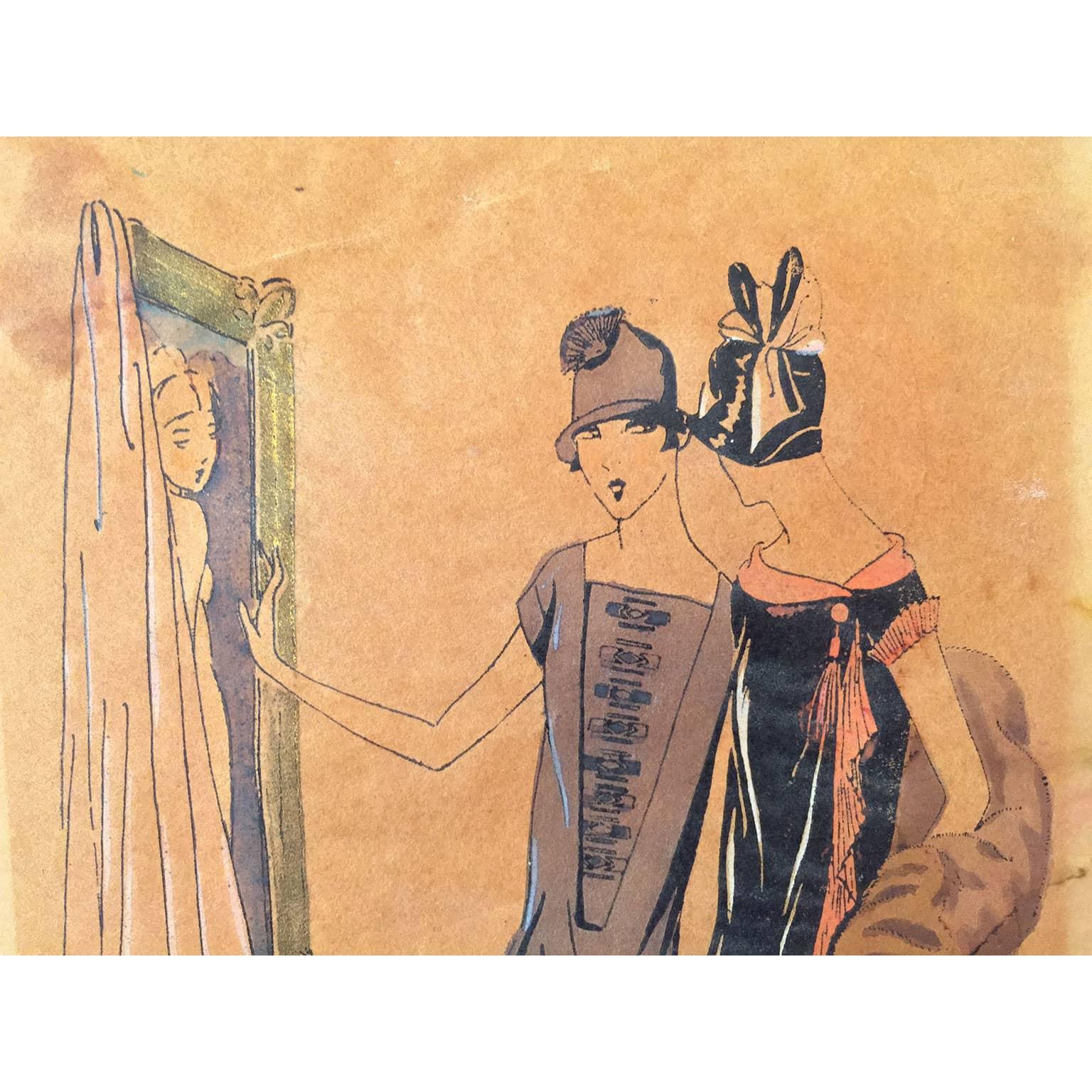 Favoloso Splendido disegno a china ed acquerello per vestiti di moda AL19