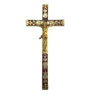 crocifisso in bronzo dorato, tartaruga e zinco