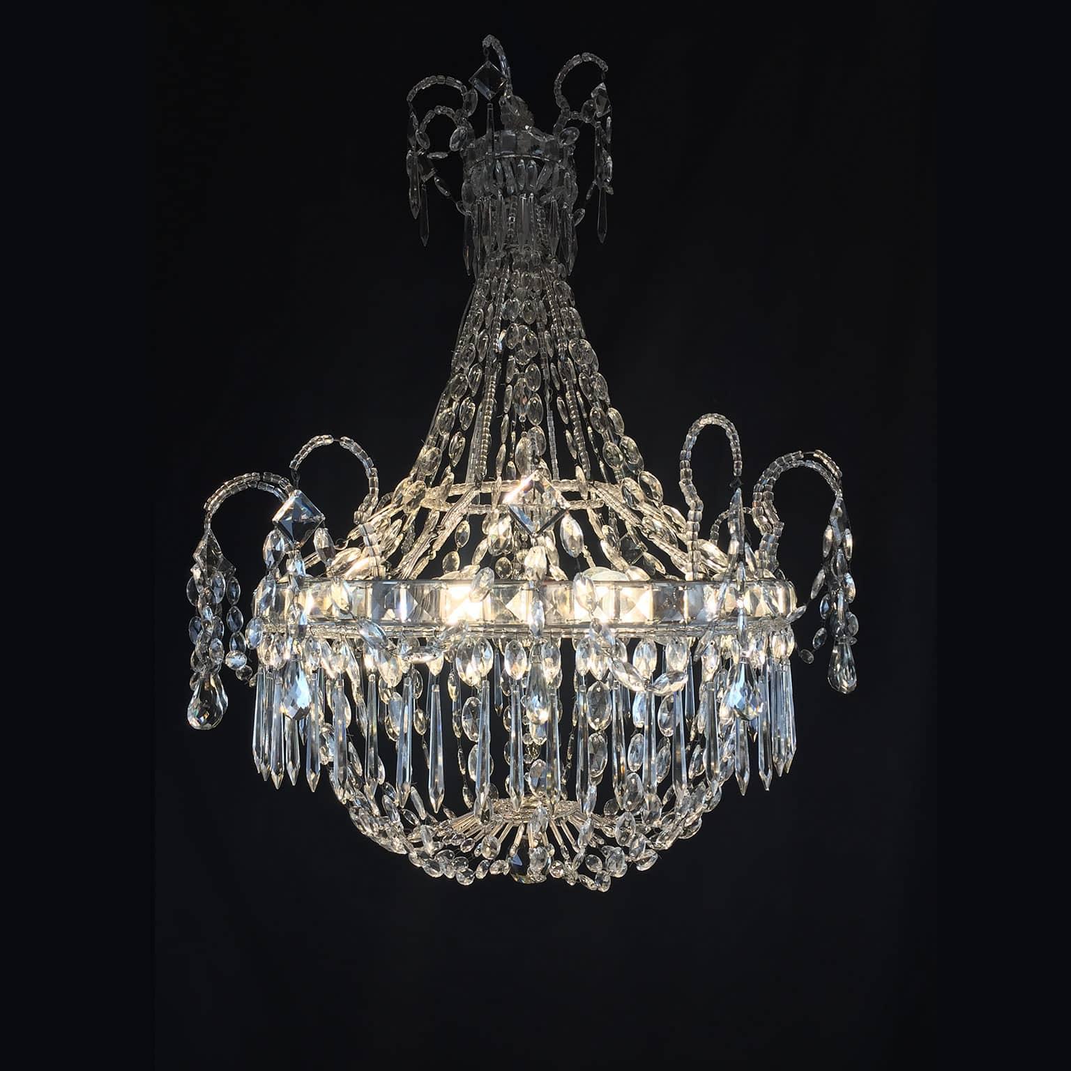 Empire Beaded Crystal Six Light Chandelier Lightbox