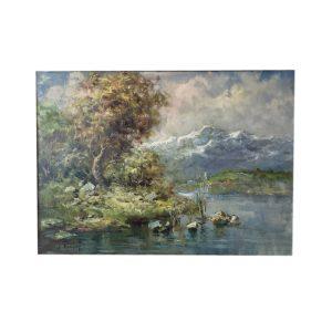 Ivan Karpoff, Paesaggio Fluviale, 1950 circa.