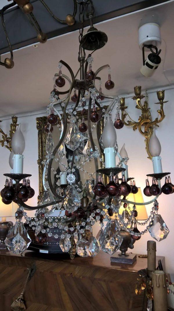 Lampadario Antico in Ottone e Cristalli Ametista