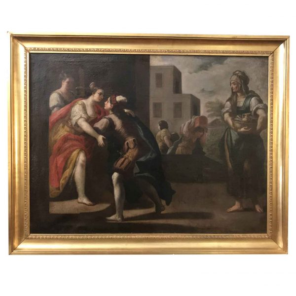 Large 18th Century Italian Oil on Canvas Painting with Figures
