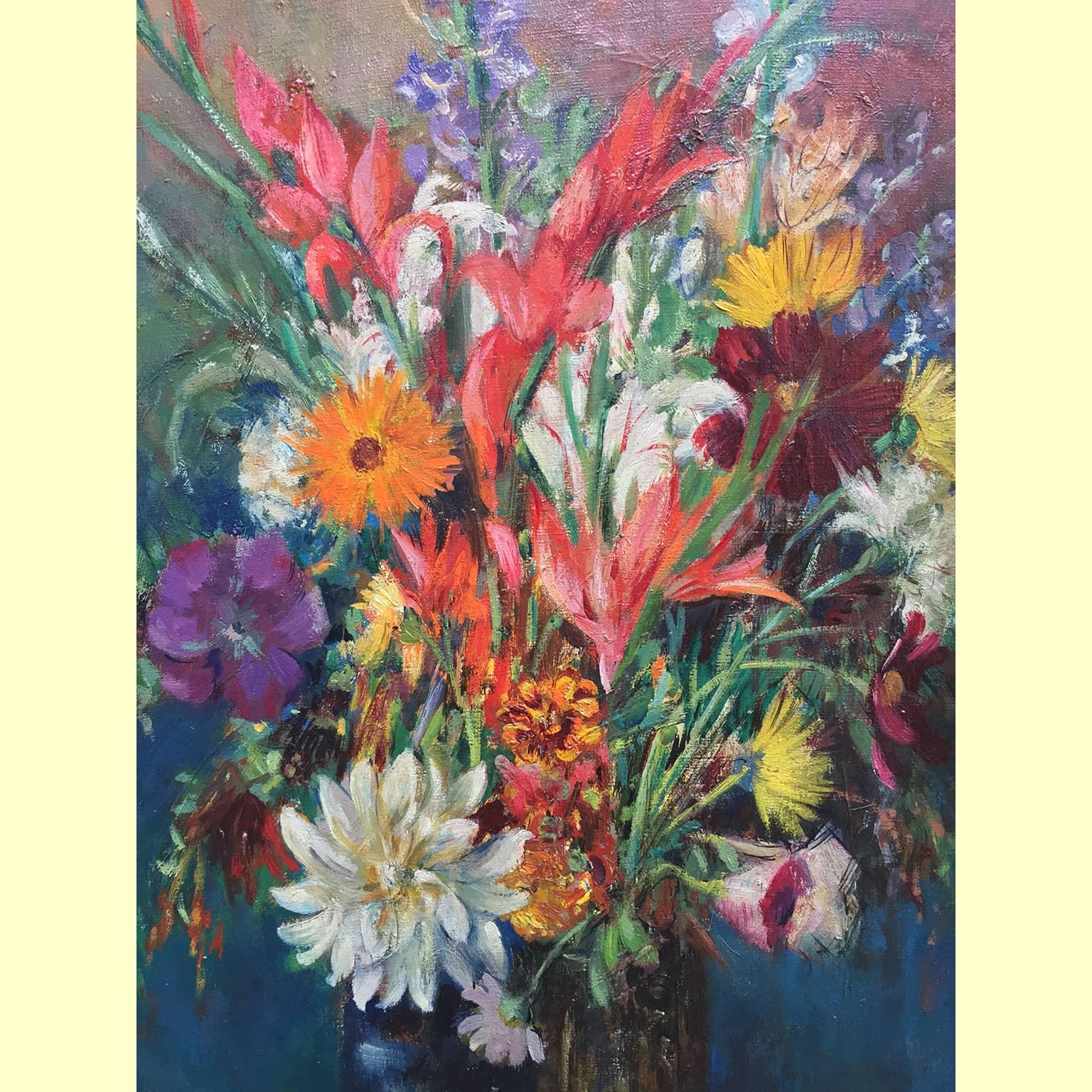 Montini umberto vaso di fiori dipinto realizzato intorno for Fiori di ciliegio dipinti
