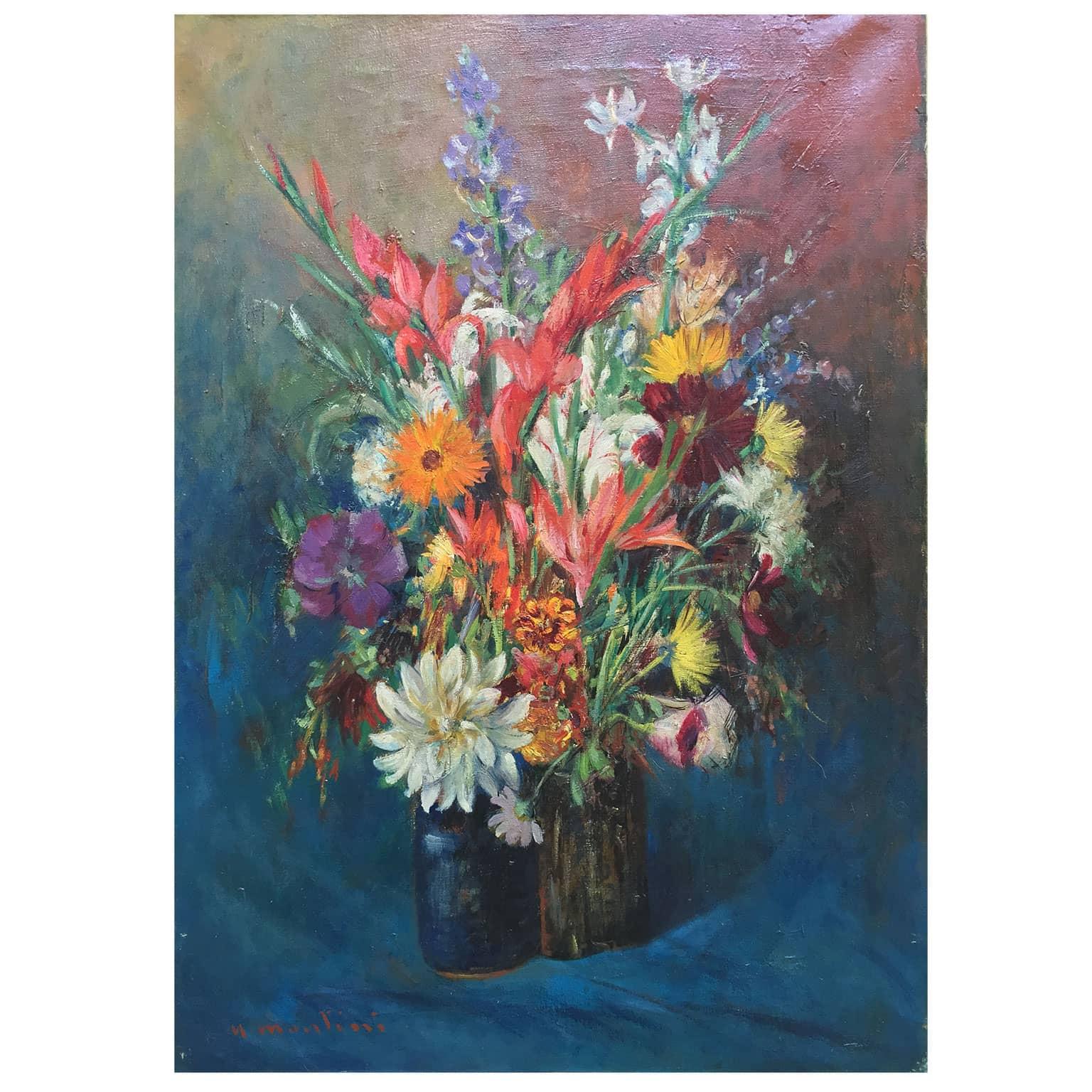 Montini umberto vaso di fiori dipinto realizzato intorno for Quadri di fiori