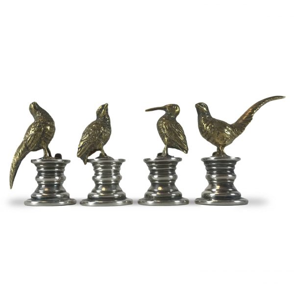 Set of Four Sterling Silver Birds Place Card Holders by E H W & Co London 1914