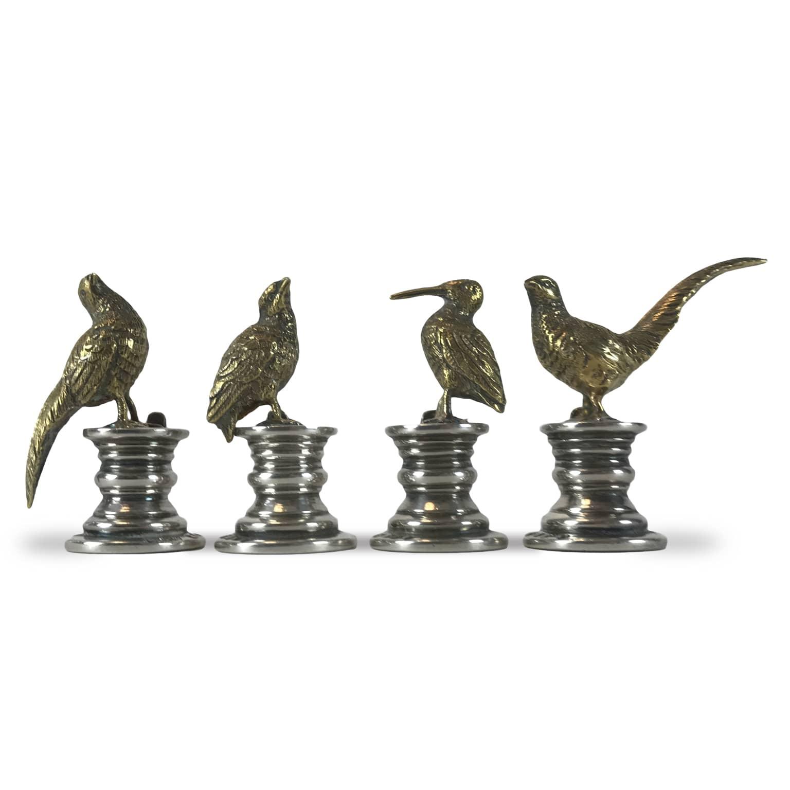 Quattro segnaposto in argento inglesi