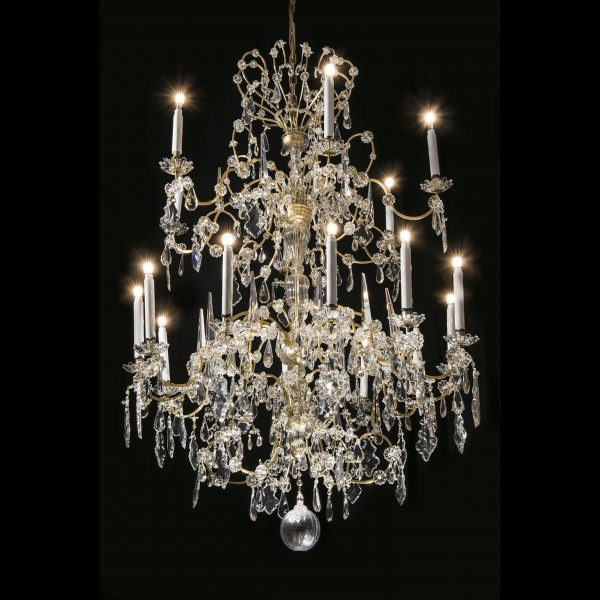 19th Century Italian Bohemian Crystal 18 Light Chandelier